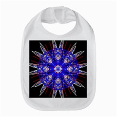 Kaleidoscope Flower Mandala Art Black White Red Blue Bib