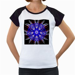 Kaleidoscope Flower Mandala Art Black White Red Blue Women s Cap Sleeve T