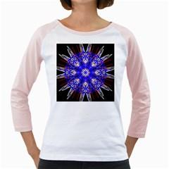 Kaleidoscope Flower Mandala Art Black White Red Blue Girly Raglans