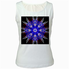 Kaleidoscope Flower Mandala Art Black White Red Blue Women s White Tank Top