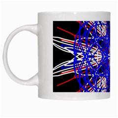 Kaleidoscope Flower Mandala Art Black White Red Blue White Mugs