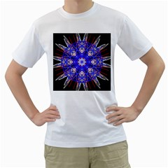 Kaleidoscope Flower Mandala Art Black White Red Blue Men s T Shirt (white) (two Sided)