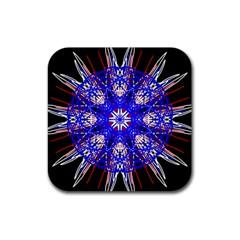 Kaleidoscope Flower Mandala Art Black White Red Blue Rubber Square Coaster (4 Pack)