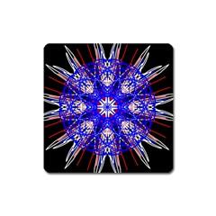 Kaleidoscope Flower Mandala Art Black White Red Blue Square Magnet