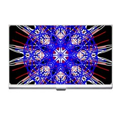 Kaleidoscope Flower Mandala Art Black White Red Blue Business Card Holders