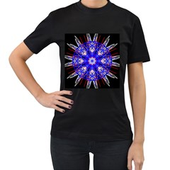 Kaleidoscope Flower Mandala Art Black White Red Blue Women s T Shirt (black) (two Sided)