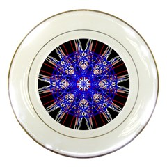Kaleidoscope Flower Mandala Art Black White Red Blue Porcelain Plates