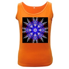 Kaleidoscope Flower Mandala Art Black White Red Blue Women s Dark Tank Top