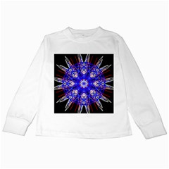 Kaleidoscope Flower Mandala Art Black White Red Blue Kids Long Sleeve T Shirts