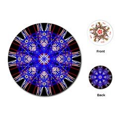 Kaleidoscope Flower Mandala Art Black White Red Blue Playing Cards (round)