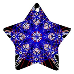 Kaleidoscope Flower Mandala Art Black White Red Blue Star Ornament (two Sides)