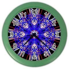 Kaleidoscope Flower Mandala Art Black White Red Blue Color Wall Clocks