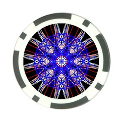 Kaleidoscope Flower Mandala Art Black White Red Blue Poker Chip Card Guards