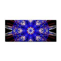 Kaleidoscope Flower Mandala Art Black White Red Blue Hand Towel