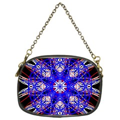 Kaleidoscope Flower Mandala Art Black White Red Blue Chain Purses (two Sides)