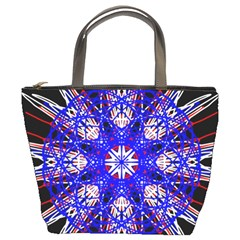 Kaleidoscope Flower Mandala Art Black White Red Blue Bucket Bags
