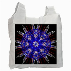 Kaleidoscope Flower Mandala Art Black White Red Blue Recycle Bag (One Side)