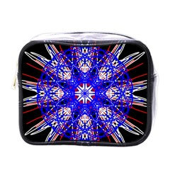 Kaleidoscope Flower Mandala Art Black White Red Blue Mini Toiletries Bags