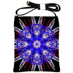 Kaleidoscope Flower Mandala Art Black White Red Blue Shoulder Sling Bags
