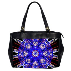 Kaleidoscope Flower Mandala Art Black White Red Blue Office Handbags (2 Sides)