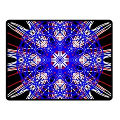Kaleidoscope Flower Mandala Art Black White Red Blue Fleece Blanket (small)