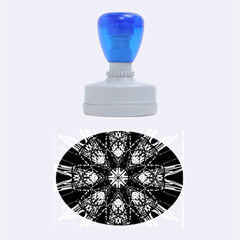 Kaleidoscope Flower Mandala Art Black White Red Blue Rubber Oval Stamps