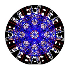Kaleidoscope Flower Mandala Art Black White Red Blue Ornament (round Filigree)