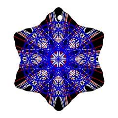 Kaleidoscope Flower Mandala Art Black White Red Blue Snowflake Ornament (2 Side)