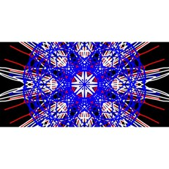 Kaleidoscope Flower Mandala Art Black White Red Blue YOU ARE INVITED 3D Greeting Card (8x4)
