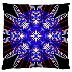 Kaleidoscope Flower Mandala Art Black White Red Blue Large Cushion Case (Two Sides)