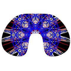 Kaleidoscope Flower Mandala Art Black White Red Blue Travel Neck Pillows