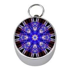 Kaleidoscope Flower Mandala Art Black White Red Blue Mini Silver Compasses