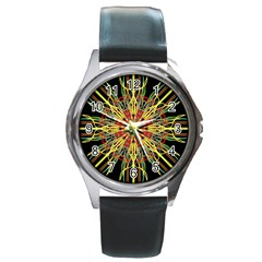 Kaleidoscope Flower Mandala Art Black Yellow Orange Red Round Metal Watch