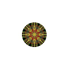 Kaleidoscope Flower Mandala Art Black Yellow Orange Red 1  Mini Magnets