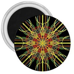Kaleidoscope Flower Mandala Art Black Yellow Orange Red 3  Magnets