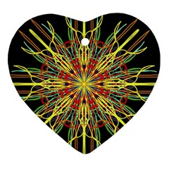 Kaleidoscope Flower Mandala Art Black Yellow Orange Red Ornament (heart)