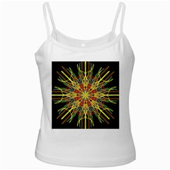 Kaleidoscope Flower Mandala Art Black Yellow Orange Red White Spaghetti Tank