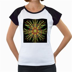 Kaleidoscope Flower Mandala Art Black Yellow Orange Red Women s Cap Sleeve T