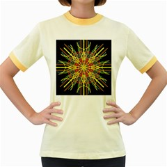 Kaleidoscope Flower Mandala Art Black Yellow Orange Red Women s Fitted Ringer T Shirts