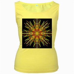 Kaleidoscope Flower Mandala Art Black Yellow Orange Red Women s Yellow Tank Top