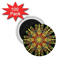 Kaleidoscope Flower Mandala Art Black Yellow Orange Red 1 75  Magnets (100 Pack)