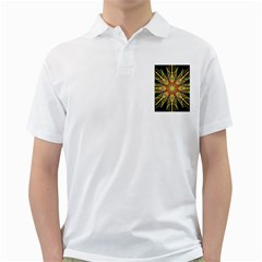 Kaleidoscope Flower Mandala Art Black Yellow Orange Red Golf Shirts