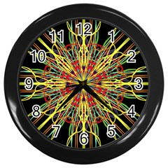 Kaleidoscope Flower Mandala Art Black Yellow Orange Red Wall Clocks (black)
