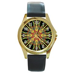 Kaleidoscope Flower Mandala Art Black Yellow Orange Red Round Gold Metal Watch