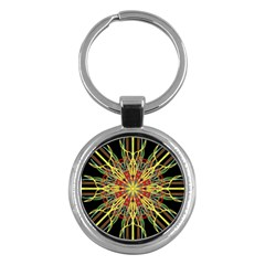 Kaleidoscope Flower Mandala Art Black Yellow Orange Red Key Chains (round)
