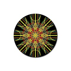 Kaleidoscope Flower Mandala Art Black Yellow Orange Red Rubber Coaster (round)
