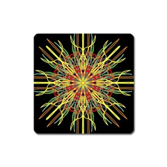 Kaleidoscope Flower Mandala Art Black Yellow Orange Red Square Magnet