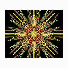 Kaleidoscope Flower Mandala Art Black Yellow Orange Red Small Glasses Cloth