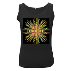 Kaleidoscope Flower Mandala Art Black Yellow Orange Red Women s Black Tank Top