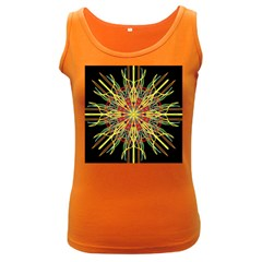 Kaleidoscope Flower Mandala Art Black Yellow Orange Red Women s Dark Tank Top